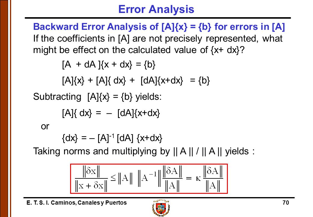 Error Analysis Backward Error Analysis of [A]{x} = {b} for errors in [A]